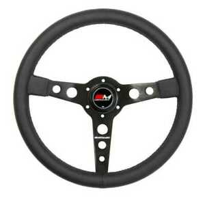 Motamec Classic Steering Wheel 350mm Black Leather Black Spoke Historic Retro