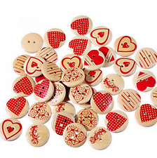 25X Wooden Buttons Mixed Red heart pattern Round 2-hole sewing scrapbooking 20mm