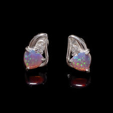 Australian Pink Fire Opal Gemstone 925 Sterling Silver Love Earring Stud Jewelry