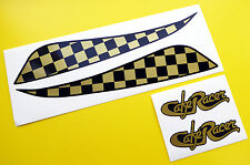 CAFE RACER style GOLD CHEQUERED TANK DECAL STICKER SET including logos
