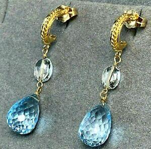 14K Yellow Gold Earrings Half-Hoop Blue Topaz Briolette Teardrop Dangle Signed