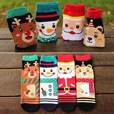 4 Pair Women Men Winter Warm Soft Cotton Socks Santa Snowman Deer Christmas 2018