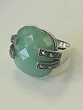 size 6 WOMEN'S BIG GENUINE JADE & MARCASITE VINTAGE 925 STERLING SILVER RING New