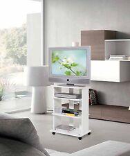 Mobile carrello porta tv bianco in legno con ruote a vari scomparti mod.eli