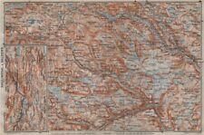 HALLINGDAL & VALDRES. Hemsedal Fagernes Aurdal. Topo-map. Norway kart 1912