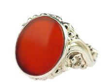 Art Deco Herren 835 Silber Siegel Karneol Platte Wappen Ring