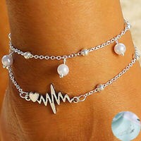 Ankle Bracelet Silver  Women Anklet Beach Double Chain Foot Jewelry ECG Heart