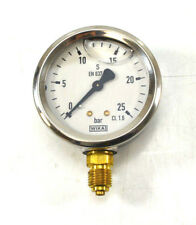 """WIKA Manometer 0 - 25 bar Ø 63mm 1/4"""" senkrecht  Kl. 1.6 Glycerin Glyzerin NEU"""