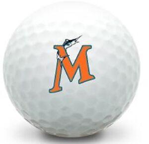 1 Dozen (Miami Marlins MLB Logo) Titleist Pro V1 Mint Golf Balls