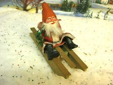 Antique German Santa Candy Container on Wood Sled ( 286)