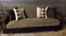 BROWN & MOCHA SOFA BED JUMBO CORD 175CM  3 SEATER STORAGE ASSEMBLED CLICK CLACK