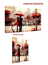 COUPLE WITH RED UMBRELLA IN PARIS OIL PAINT REPRINT  ON FRAMED CANVAS WALL ART