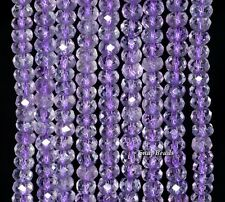 6X4MM AMETHYST GEMSTONE GRADE AA FACETED RONDELLE LOOSE BEADS 15.5""