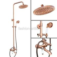 Retro Red Antique Copper Bathroom Waterfall Rain Shower Faucet Set frg576
