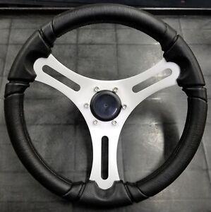 Black ALUMINUM SPOKE, Black Polyurethane, brushed alum spoke Boat Steering Wheel