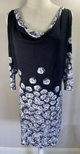 Moss & Spy - Black & White Floral Cold Shoulder Dress - Size 12 - Preowned VGC