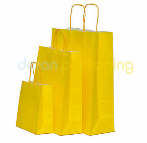 Yellow Paper Bags Twist Handle Party and Gift Carrier / Paper Bags With Handles