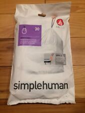 Code A 30 Ct SIMPLEHUMAN Custom Fit Trash Bags Can Liners Refill Size White Pack