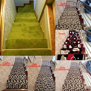 Skid-resistant 20*60cm Stair Treads Runners Step Pads Carpet Mats Rugs Set of 13