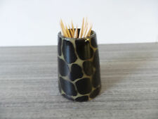 "2""H Horn Cow Toothpick Holder Kenya Africa African Painted Giraffe Print Natural"