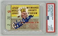 1958 BRAVES Hank Aaron signed ticket stub WORLD SERIES PSA/DNA AUTO 10 Perfect