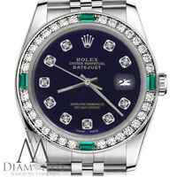 Ladies Rolex 31mm Datejust Purple Color Dial with Diamond Emerald Accent Watch