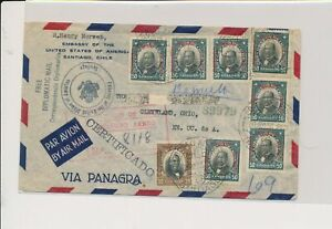LM85076 Chile 1933 registered diplomatic mail airmail cover used