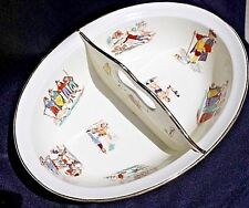 Opaque Luneville Children's Nursery Rhyme divided dish w/ gold edge rim & bottom