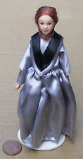 1:12 Scale Victorian Lady In A Blue Grey Dress Tumdee Dolls House People Lady L