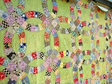 Vtg 30's 40's Wedding Ring Quilt pastel green hand stitched