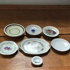 Estate Lot of 7 Small Mini Miniature Porcelain Stoneware Floral Plates of Variou