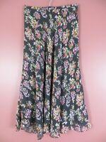 SK16452- JONES NEW YORK Women's Silk Maxi Flare Skirt Asymmetrical Hem Floral 10