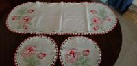 3 Piece Vintage Red Rose Embroidery and Crochet Doily Set/ Large Scarf & 2 Round