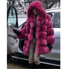 UK Women Winter Faux Fur Coat Jacket Hooded Coats Thicken Warm Stylish Plus Size
