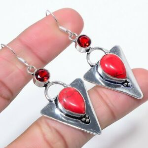 Red Turquoise, Garnet Gemstone Ethnic 925 Sterling Silver Jewelry Earring 2.4""