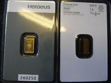 "1g Goldbarren ""Heraeus"" im Blister mit Zertifikat  PLATIN GOLD PALLADIUM SILBER"