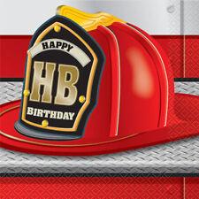 Fire Truck Party Lunch Napkins (16) ~ Birthday Supplies Serviettes Dinner Large