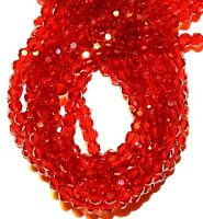 """CRB348L2 Siam Red 4mm Faceted Round Crystal Glass Beads 14"""""""