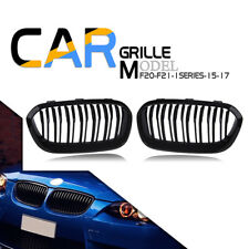 Twin Slats Front Kidney Grill Grille Gloss Black for BMW F20 F21 1 Series 15-17