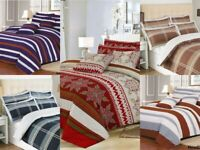 LUXURY STRIPE DUVET COVER SET QUILT BEDDING WITH PILLOWCASE SINGLE DOUBLE KING