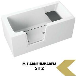 Badewanne Wanne für barrierefreies Bad mit Tür links 140 cm mit Sitz Acryl
