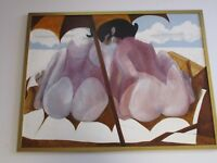 LARGE PAINTING  MODERNISM EXPRESSIONISM ABSTRACT  NUDE BEACH BY DAVID SEGEL