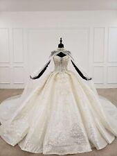 Custom-made Luxury Bling Royal Ballgown Wedding Dress With  Detachable Cape