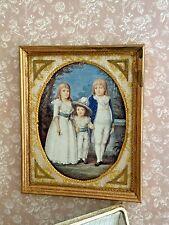Vintage Miniature Dollhouse Artisan Paul V Rosa Gilt Wood Framed Print Children