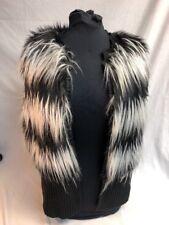 Vince Camuto Striped Black and White Faux Fur Vest