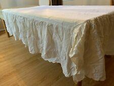 New listing Full / Double 100% Cotton Beige Bed Skirt Dust Ruffle 17� Drop Split Corner