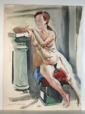 Dominique Mayet Watercolor Painting of Seated Woman