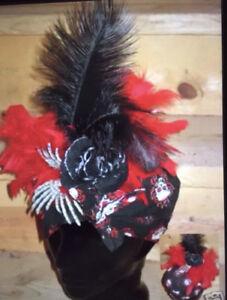 Gothic Deadhead Carmen Miranda Plume Costume Accessory Head Piece skeleton bones