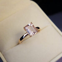 2.Ct Emerald Cut Morganite Solitaire Engagement Wedding Ring 14K Rose Gold Over