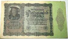 Reichsbanknote 50,000 MARK GERMANY 1922 Banknote C09970562 Collectors UNC